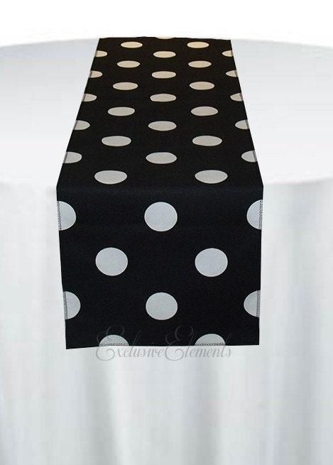 Black And White Polka Dot Table Runner Wedding Table