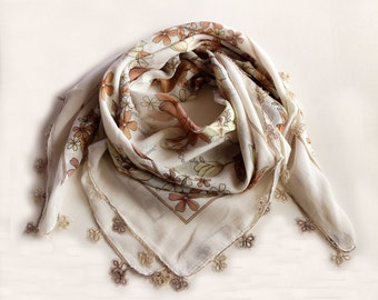 Printed Boho Scarf, Lightweight Turban Scarf, Cream Brown, Tatting Lace Trim, Soft Muslin, Boho Authentic Scarf, Cheesecloth, Bandana, OOAK