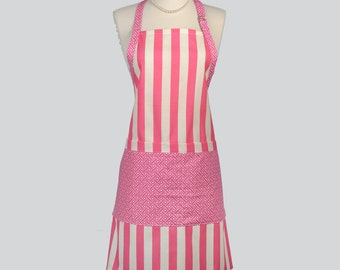 Chef Apron -  Adjustable Neck Pink and Ivory Stripe Cute Modern Womens Chef Apron Great Gift for Women Who Love to Cook