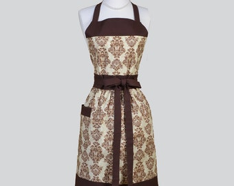 Full Womens Aprons , Cute Vintage Kitchen Cooking Coffee Brown and Taupe Damask Retro Chef Hostess Womans Apron Personalize