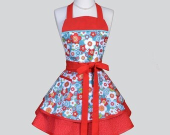 Ruffled Retro Apron - Red and Teal Floral Vintage Style Kitchen Cooking Apron Ideal to Personalize or Monogram as a Gift for Her