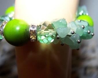 hand made precious stone and swarovski crystals bracelet