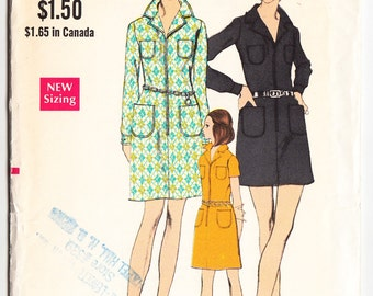 Vintage 1971 Vogue 7726 UNCUT Sewing Pattern Misses' One-Piece Dress Size 10 Bust 32-1/2