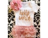 Baby Girl Take home outfit, Bloomer, Onesie and Headband set- Hello World, Newborn baby Girl Onesie, Newborn Set baby clothing, baby set