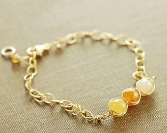 Citrine Birthstone Bracelet in 14k Gold Fill or Sterling Silver, November Birthstone Bracelet, Citrine Jewelry