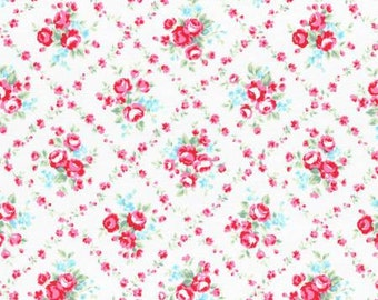 Flower Sugar 2015 Fall Collection Cotton Fabric Lecien 31269-10 White Floral Bouquet In Floral Vine Diamonds