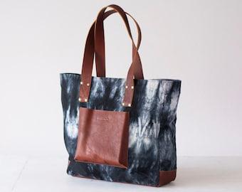Shopper tote bag in black shibori and brown leather, shoulder bag women purse large bag tote - The Aella tote