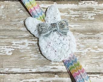 Easter Bunny Headband, Easter Headband, Baby Headband, Infant Headband, Newborn Headband, Baby Shower Gift, School, Pastels, Pink Hair Bow
