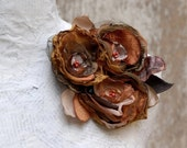 SALE 50% Autumnal Flower Corsage --- Trio Fabric Flowers Pin in Brown and Copper --- Tagt Rdtt