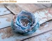 SALE SALE SALE Dress flower, Handmade Fabric Flower Pin, Blue Grey Flower Brooch, Flower Accessory, Tagt Team