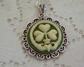 Claddagh and Clover Pendant, Irish Heritage, Irish Wedding Love, Friendship, Ireland St. Patrick's Day, Green & Ivory cameo necklace, Celtic