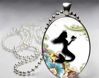 Mermaid Silhouette, Under the Sea Princess Pendant, Mermaid & shells , Art Illustration, Mermaid Art Jewelry, Blue, Teal