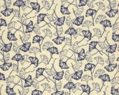 Ginkgo leaf printed quilting cotton 2/3 yard 42 wide by 25 inches long cream light tan navy blue print