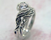 Leaf Vine Engagement Ring / Wedding Set- Non Tarnish Sterling Silver -Ready to Ship