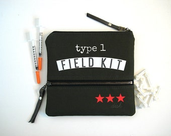 Diabetic Supplies Bag Red Cross Olive Medic Bag Zipper Pouch with Pocket Type 1 Tester Pouch