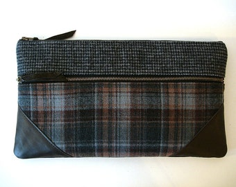 Large Oversized Zipper Clutch  Chocolate and Grey Houndstooth, Plaid and Leather