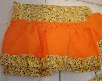 Vintage Retro Curtains Valance 2 Panels 2 Valances Orange Yellow Flower