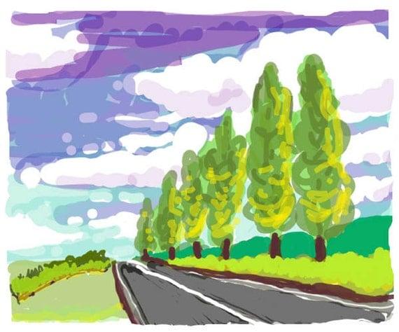 Original Painting, Modern Landscape, Scenic Painting, Acrylic on Canvas, Roadtrip Art, Modern Wall Art, Retro painting on canvas