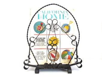 Vintage Ornamental Iron Magazine, Newspaper Rack