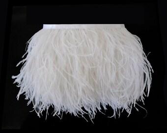 Wholesale Ostrich Fringe, 1 Yard - WHITE Ostrich Fringe Trim Feathers : 2100