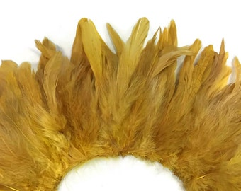 4 Inch Strip - GOLDEN YELLOW Bleached and Dyed Strung Rooster Schlappen Feathers : 3275
