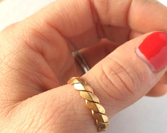 Vintage Brass Ring | Twisted Brass Ring | Adjustable Ring