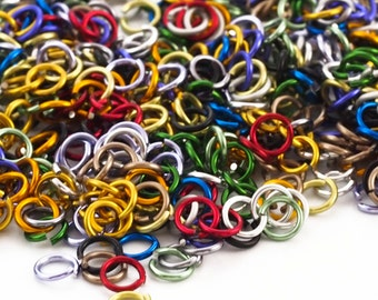 100 - 20 gauge  Color Mix Anodized Aluminum Jump Rings - 3.4mm ID -5mm OD - 1/8""