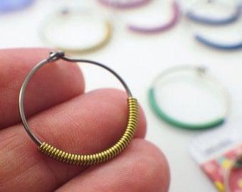 That's A Wrap Niobium Earrings - Hypoallergenic - Medium 20mm Hoops - 20 gauge - You Pick Color