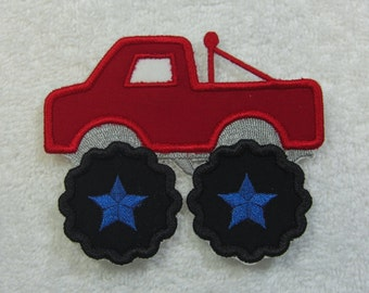 Monster Truck Fabric Embroidered Iron On Applique Patch Ready to Ship