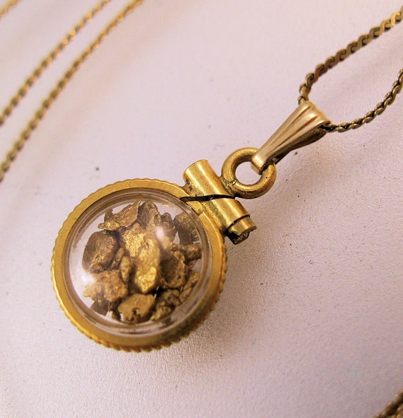22k gold flake glass locket 14k 22 chain necklace