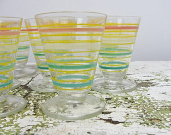 Vintage striped Cordial cups glasses set of 8