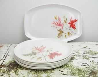 Vintage leaf print melmac plates and platter