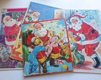 6 Vintage Christmas Puzzles, 1960s Christmas, Santa Puzzles, Saalfield Puzzle, Whitman Puzzle, Instant Collection