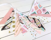 Bunting Banner Flags, Girl Nursery Decor, Bohemian - Coral Pink, Blush Pink, Mint Green, Gold, Aztec Nursery, Tribal Nursery, Feathers