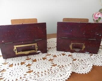 Wooden File Drawers, Set of 2, Debtors' Files, Filing System, File Card Storage
