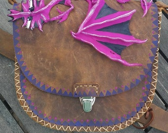 Leather Pink Dragon Purse festival belt OOAK