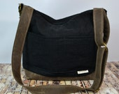 CAMERA Bag in Black Linen & Waxed canvas our 'Demi' - vegan leather, by  Darby Mack  and Made in the USA