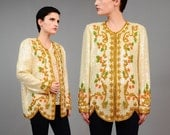 Vintage 80s Silk Ivory Sequined Jacket Art Nouveau Deco Blouse Floral Beaded Cocktail Party Kimono Jacket