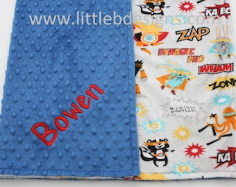Personalized Minky Blanket - Superhero Minky with Cobalt Blue Minky - Boy Baby Blanket