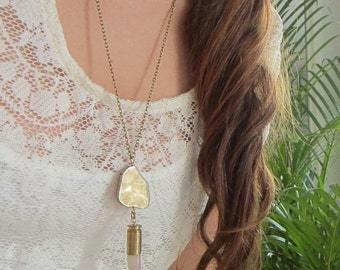 Pyrite & Bullet Pendant Necklace - Handmade Bullet Jewelry - Smooth Polished Stone Point Talon on Long Chain