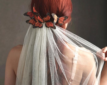 Butterfly headpiece, wedding veil, bridal veil, butterfly comb, wedding headpiece, whimsical head peice, monarch hair accessories - Florence