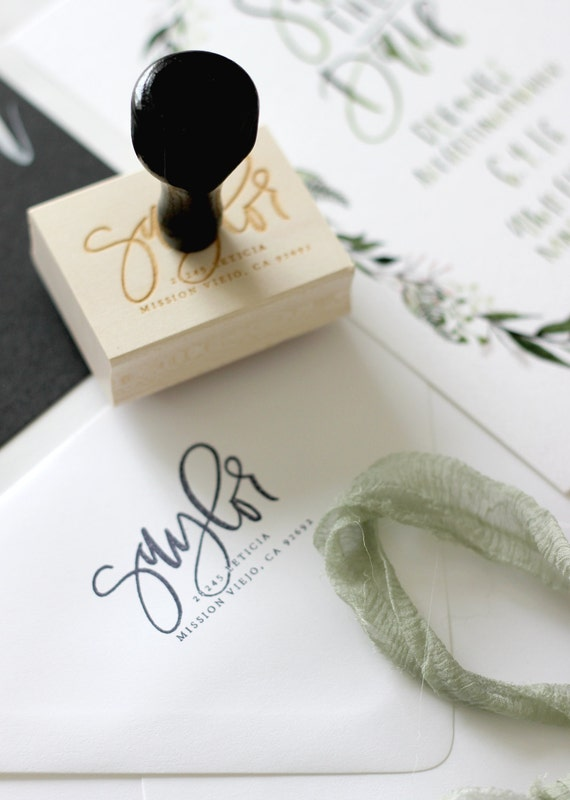 Custom Calligraphy Address Stamp From Afabulousfete On