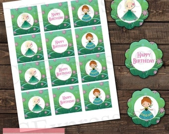 Frozen Fever Anna and Elsa Birthday Cupcake Toppers/Favor Tags