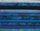 HOP Batavian Blue Wilmington Prints. 12 Fat Quarter Bundle Pre-Cuts!  Fat Quarter Batik Sampler--100% Cotton