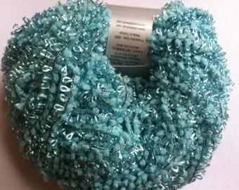 Celebi Purpur #78 Light Turquoise Blue Sparkly Ringlet Novelty Ribbon Yarn - Aqua Blue on Black with Sparkly Metallic Accent 50 gram 124 yds