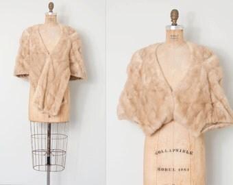vintage 1950s mink capelet / 50s blonde mink shawl / Tourmaline