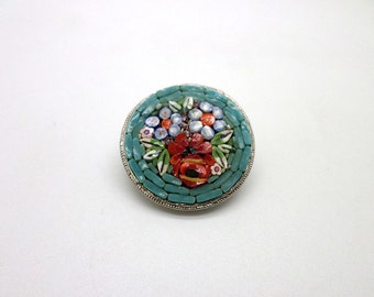 Micromosaic Vintage Pin Brooch Teal Turquoise Micro Mosaic