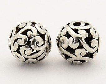 Antique Silver Filigree Beads (10mm) - Metal Beads