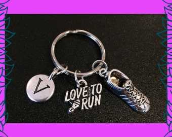 Fitness keychain, gift for runner, Love to run key ring, running shoe charm, personalised letter charm, gift for her, Christmas gift UK