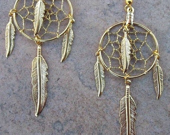 """ON SALE LG Four Winds ll 3"""" Gold dream catcher earrings (Large), long feather earrings, long feather gold earrings, long dreamcatcher earrin"""